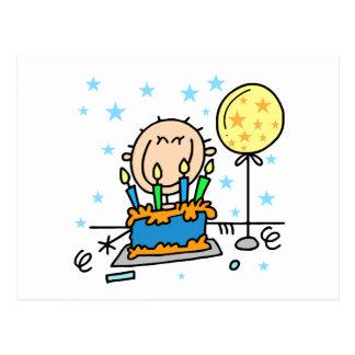 Stick Figure Boy With Birthday Cake Gifts Postcard