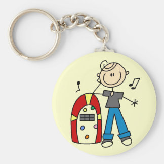 Stick Figure Boy with Jukebox Tshirts and Gifts Basic Round Button Keychain