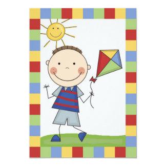 "Stick Figure Boy With Kite Birthday Invite 5"" X 7"" Invitation Card"