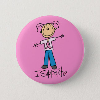 Stick Figure Breast Cancer Support Button