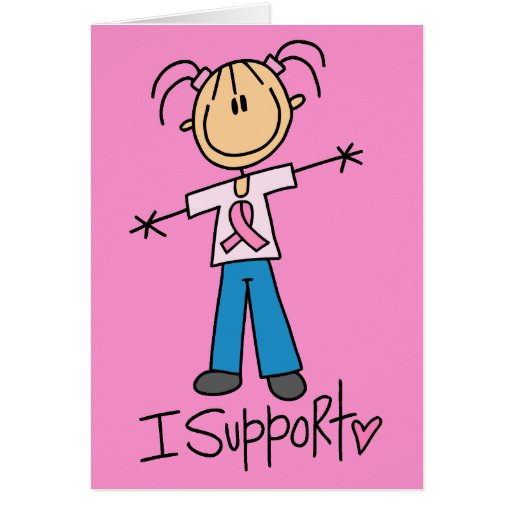 Stick Figure Breast Cancer Support Greeting Card