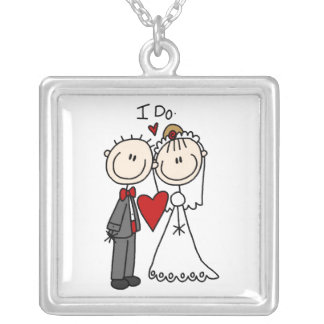 Stick Figure Bride and Groom I DoNecklace Silver Plated Necklace
