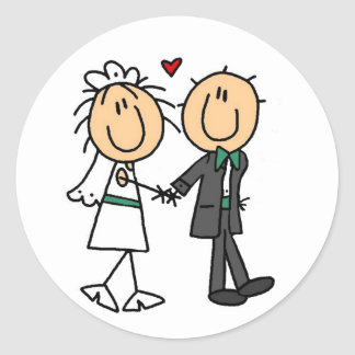Stick Figure Bride and Groom Invitations Classic Round Sticker