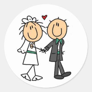 Stick Figure Bride and Groom Invitations Classic Round Sticker