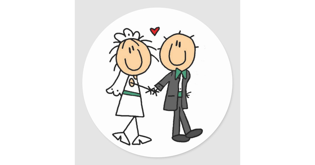 Stick Figure Wedding Invitations: Stick Figure Bride And Groom Invitations Classic Round
