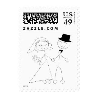 Stick Figure Bride and Groom Postage