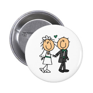 Stick Figure Bride and Groom T-shirts and Gifts Button