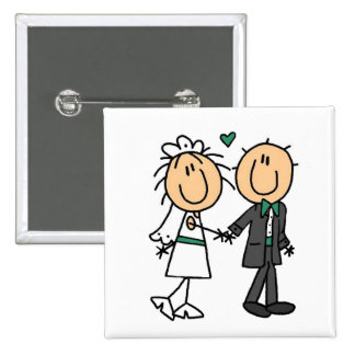 Stick Figure Bride and Groom T-shirts and Gifts Pinback Button