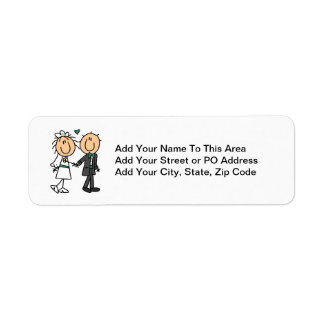 Stick Figure Bride and Groom T-shirts and Gifts Label