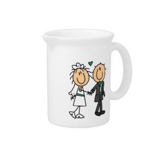 Stick Figure Bride and Groom T-shirts and Gifts Pitchers