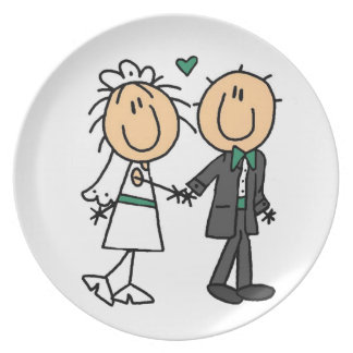 Stick Figure Bride and Groom T-shirts and Gifts Dinner Plates