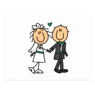 Stick Figure Bride and Groom T-shirts and Gifts Postcard