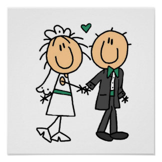 Stick Figure Bride and Groom T-shirts and Gifts Poster
