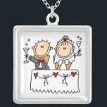"""Stick Figure Bride and Groom Toasting  Necklace<br><div class=""""desc"""">A stick figure bride and groom toast to their new life together on a necklace any bride to be who loves stick figures is sure to adore!</div>"""