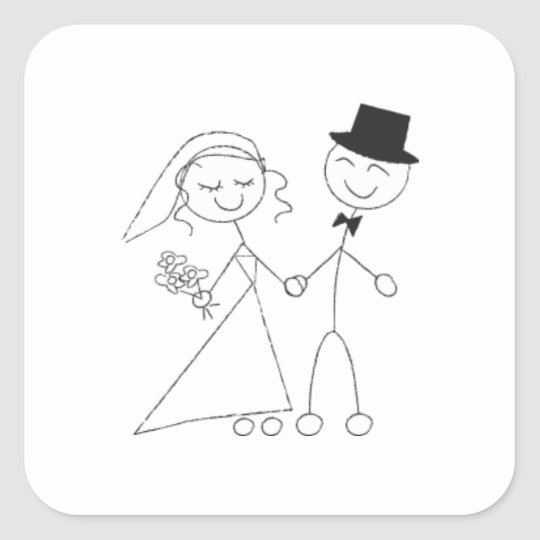 Stick Figure Bride & Groom Square Sticker