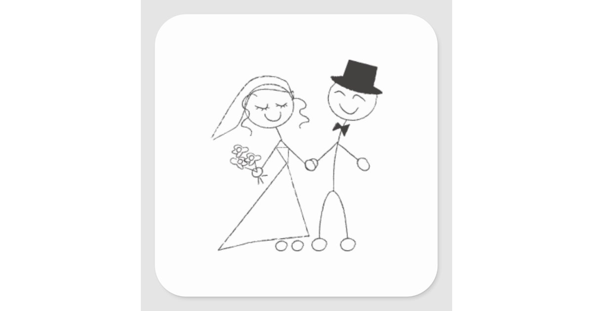 Stick Figure Wedding Invitations: Stick Figure Bride & Groom Square Sticker