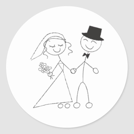 Stick Figure Bride & Groom Wedding RSVP Invitation Classic