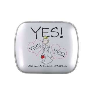 Stick Figure Bride Says YES Tins and Jars w. Candy Jelly Belly Tin