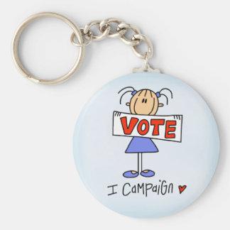 Stick Figure Campaign Worker Basic Round Button Keychain