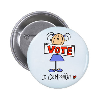 Stick Figure Campaign Worker Pinback Button