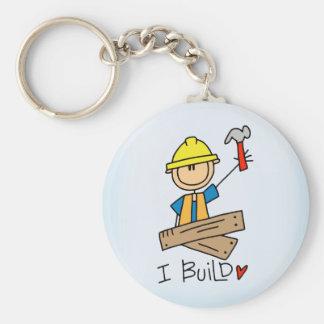 Stick Figure Carpenter Basic Round Button Keychain