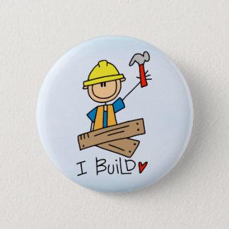 Stick Figure Carpenter Pinback Button