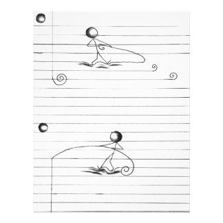 Stick Figure Cartoon Drawing on Lined Paper