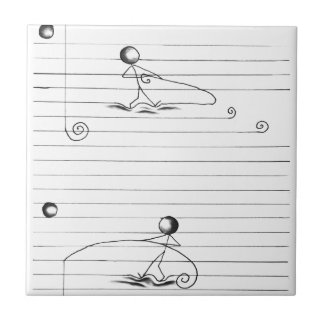 Stick Figure Cartoon Drawing on Lined Paper Ceramic Tile