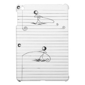 Stick Figure Cartoon Drawing on Lined Paper iPad Mini Cases