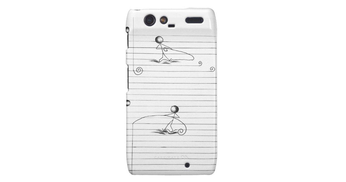 Stick Figure Cartoon Drawing on Lined Paper Motorola Droid RAZR ...