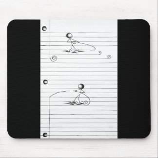 Stick Figure Cartoon Drawing on Lined Paper Mouse Pad