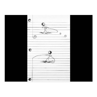 Stick Figure Cartoon Drawing on Lined Paper Postcard