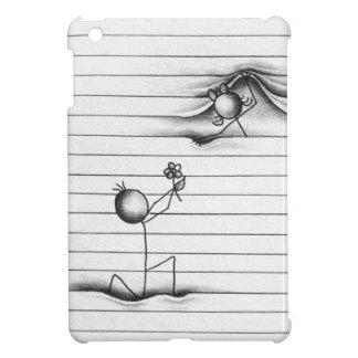 Stick Figure Cartoon of Boy Giving Girl A Flower iPad Mini Covers