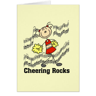 Stick Figure Cheering Rocks T-shirts and Gifts Card