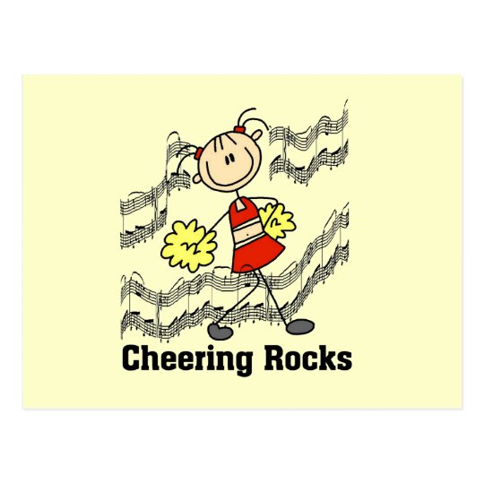Stick Figure Cheering Rocks T-shirts and Gifts Postcard