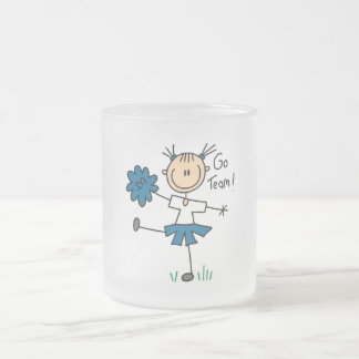 Stick Figure Cheerleader Go Team TShirts and Gifts Frosted Glass Coffee Mug