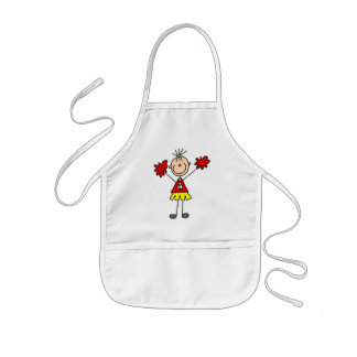 Stick Figure Cheerleader - Red and Gold Apron