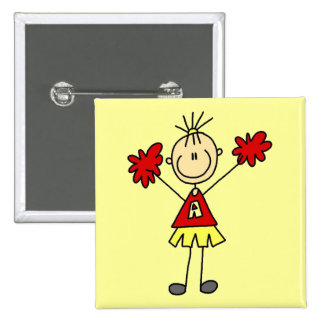 Stick Figure Cheerleader - Red and Gold Buttons
