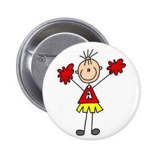 Stick Figure Cheerleader - Red and Gold Pin