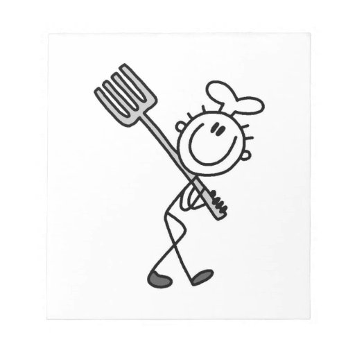Stick Figure Chef With Fork Note Pad