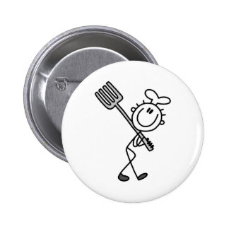 Stick Figure Chef with Fork Pinback Button