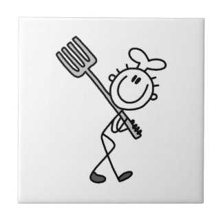Stick Figure Chef With Fork Tile