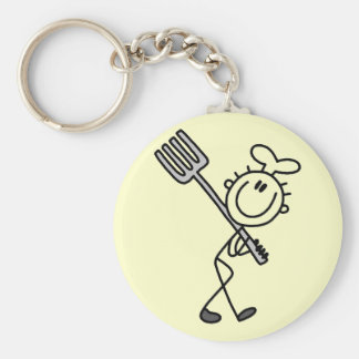 Stick Figure Chef with Fork Tshirts and Gifts Keychain