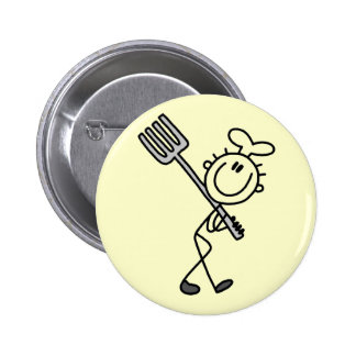 Stick Figure Chef with Fork Tshirts and Gifts Pin