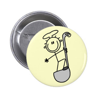 Stick Figure Chef with Ladle Pinback Button