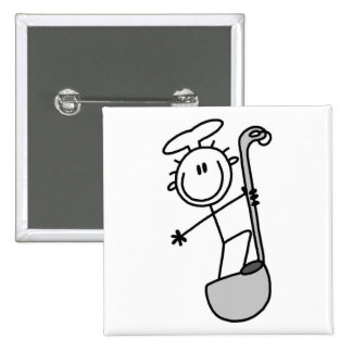 Stick Figure Chef with Ladle Pinback Buttons