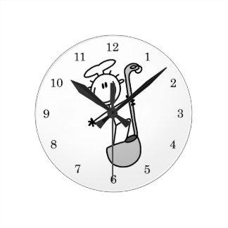 Stick Figure Chef With Ladle Round Clock