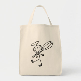 Stick Figure Chef with Whipper Grocery Tote Bag