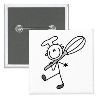 Stick Figure Chef With Whisk Pinback Button