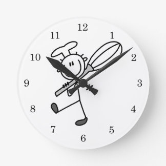 Stick Figure Chef With Whisk Round Clock
